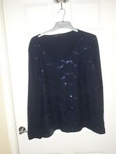 M&S Collection Women's Top Sequin Navy Blue Plus Size 24 Party Christmas