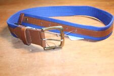NWT Fred Perry Men's Linen / Leather Blue Belt Sz 30