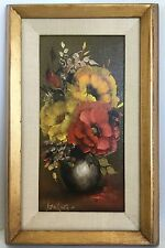 Gary Jenkins Signed Painting Oil Orig 1972 Flowers Mat Gold Frame Canvas 6x12