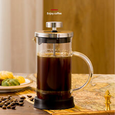 French Press Coffee Maker Glass Tea Beaker Single Serve Cafetiere 350 ml 12 oz