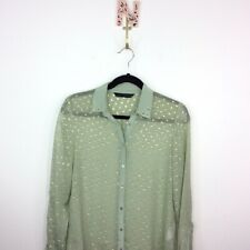 Zara Green Sheer Metallic Button Down Shirt Size Small Blouse Top Studded Collar