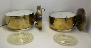 Vintage Pair Mid Century Modern John C. Virden Atomic Brass Wall Sconce Lamps