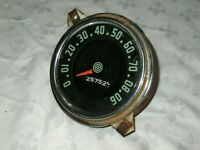 A Vintage Round 90 mph Vintage Car Illuminating Number Mileage Speedometer