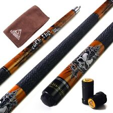 "Pool Cue Stick Set 57"" 21oz Maple Wood Steel Joint Skull Pattern Leather Tips"