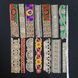 Joblot Fabric Trims Ribbons Laces Borders Grab Bag 14 assorted Trims Craft DIY
