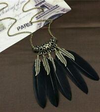 Collar de plumas negro aspecto étnico Mujer Retro Jewellery UK Stock