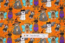 Dog Dogs Costume Party Halloween Toss Orange Children Cotton Fabric  BTY (F) +