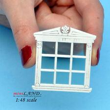 "1:48 1/4"" quarter scale double window white with Plexiglas dollhouse miniature"