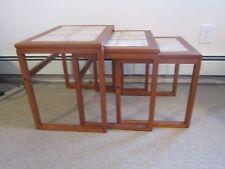 1960s MID CENTURY MODERN NESTING NEST STACK  OF 3 TABLES COFFEE DENMARK TILE TOP
