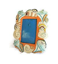 Hand Crafted Metal Shell Painted Picture Frame Shabby Beach Cottage
