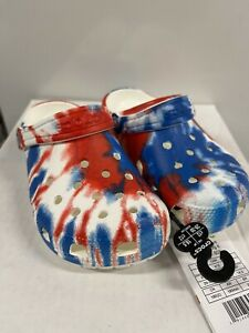 Crocs Classic Tie Dye Clog Children Size 12 C12 - Red, White, Blue  NEW