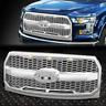 FOR 15-17 FORD F150 CHROME HONEYCOMB MESH FRONT BUMPER GRILLE/GRILL W/LED LIGHTS