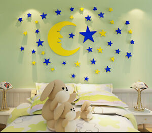 3D Moon and Star Acrylic Decal Vinyl Decor Art Home Living Room Sticker Mural