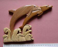 #) plaque décorative bois DEUX DAUPHINS