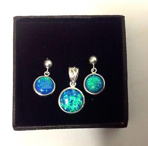 Celtic back Blue Green Fire Opal Round Pendant & Earrings Set Sterling Silver