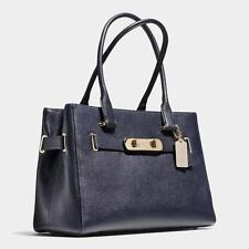 NWT Coach Pebbled Leather Swagger Carryall Handbag Navy #36488 $395