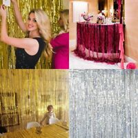 4Colors Metallic Foil Fringe Door Curtains Tinsel Decor For Party Photo Backdrop