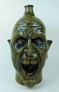 """Folk Art Pottery Face Jug """"Vampire"""" by Vonderhey"""