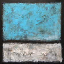 LARGE ORIGINAL TEXTURED MODERN ABSTRACT 30 x 30 BLUE PAINTING ~~~~ L. Beiboer