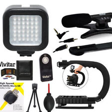 VIDEO LED LIGHT + VIDEO GRIP + ZOOM MICROPHONE FOR NIKON D3100 D3400 D3500 D5600