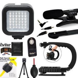 VIDEO LED LIGHT + VIDEO GRIP + ZOOM MICROPHONE FOR NIKON D3100 D3400 D3500 D5600