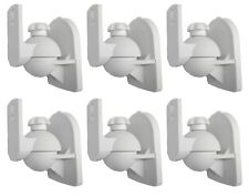 6 Pack Lot - Universal Satellite Speaker White Wall Mount Brackets fits JVC Bose