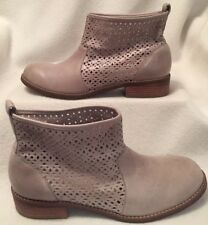 """Hush Puppies Perforated Leather Ankle Boots Women's Size 8.5 Light Beige 1"""" Heel"""