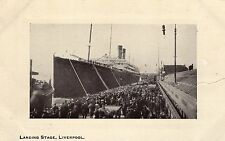 Postcard Steam Ship Boat Landing Stage Liverpool White Star RPPC N