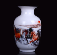 Chinese Jingdezhen Porcelain Colour Decoration Eight Horse Gallop Wax Gourd Vase