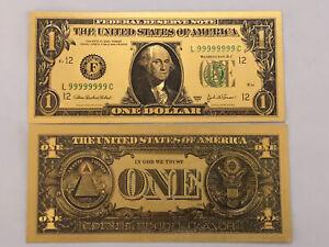 Banknote 💵 UNITED STATES 🇺🇸- Novelty Washington 1 Dollar Note Gold #67
