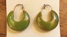"""Green Marbled Bakelite Earrings Hoops Small 14K Gold Filled Wires NOS Nomo 3/4"""""""