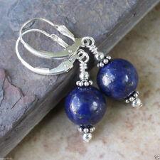 12mm Natural Blue Lapis lazuli Beads Silver Leverback Dangle Earrings