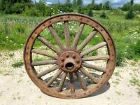 "Antique Wooden Wagon Wheel Steel Tire 36"" Vintage Army Wagon Wheel"