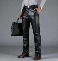 Mens Biker Motorcycle Leather Pants Straight Trousers Winter Thickened Outdoor