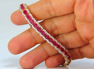 8.82CT NATURAL ROUND DIAMOND 14K SOLID WHITE GOLD RUBY GEMSTONE WEDDING BRACELET