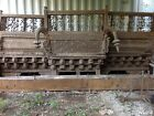 architectural antique balcony from India. carved teak wood and forged iron.