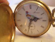 Vintage Arnex 17 jewels pocket watch Hunting w/ Pheasant (Not working)