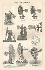 B0448 Motori eolici - Xilografia d'epoca - 1903 Vintage engraving