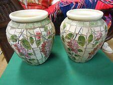 TWO Beautiful Porcelain  VASES Iridescent Chip Design