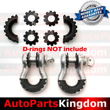 Black D-Ring Shackle Isolator & Washers 6pcs Set Rattling Protection Cover