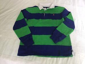Maglia Ralph Lauren, a righe azzurre e verdi, manica lunga, anni 12-13