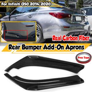 Real Carbon Fiber Rear Bumper Diffuser Splitter Canards For Infiniti Q50 2014-20