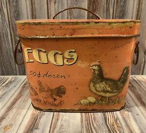 Vintage Look Farmhouse FARM FRESH EGGS Metal Tin Box Decor Creative Co-Op NWT