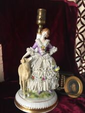 ANTIQUE GERMAN PMR DRESDEN LACE LADY W/ FLOWERS & DOG PORCELAIN LAMP FIGURINE