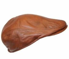 Men's Leather Ivy Tan WAX Lambskin Bunnet Newsboy Beret Cabbie Gatsby Flat Cap