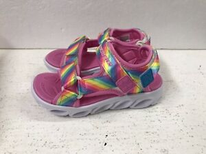 Skechers LIGHTS Size UK 13 Pink Rainbow Light Up Girls Kids Sandals Shoes NEW