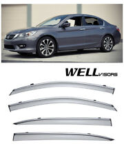 For 13-UP Honda Accord Sedan WellVisors Side Window Visors W/ Chrome Trim