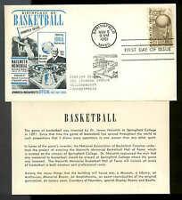 1189 BASKETBALL FDC SPRINGFIELD, MA 1st NATIONAL BASKETBALL COACHES CACHET