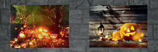 2 x LED lit Halloween Pumpkin Scene Canvas Picture Wall Decorations Thanksgiving