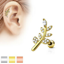 CZ Micro Paved Leaf Top 316L Surgical Steel Cartilage / Tragus Barbell / Stud